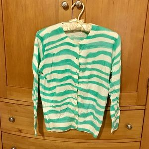 JCrew Factory Turquoise Tiger-Striped Cardigan